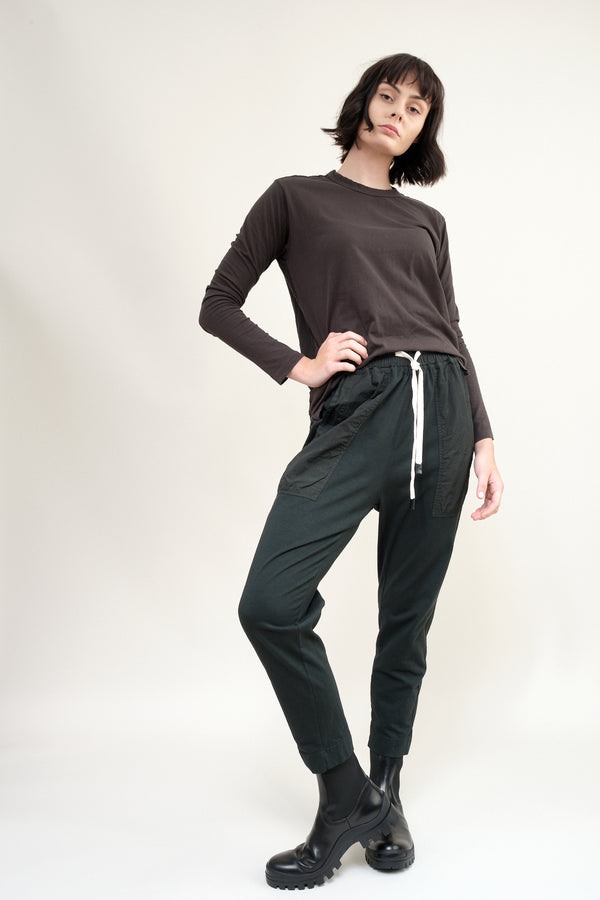 bassike Double Jersey Constrast Tapered Pant in Deep Ink