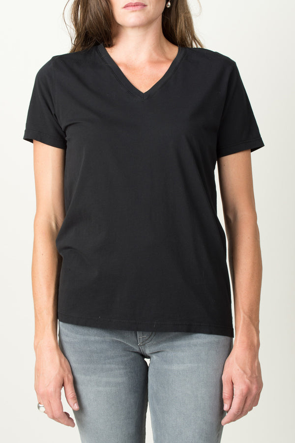 Save Khaki Layer V-Neck Tee In Black
