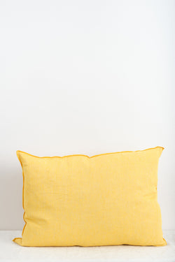 "Maison de Vacances 20 x 28"" Washed Linen Vice Versa Cushion In Tournesol"