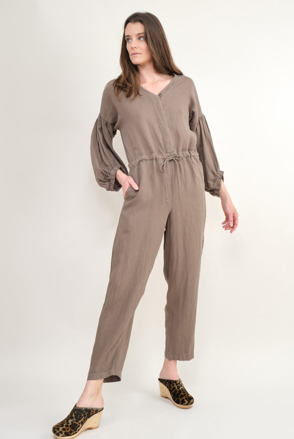 Black Crane Balloon Sleeve Jumpsuit