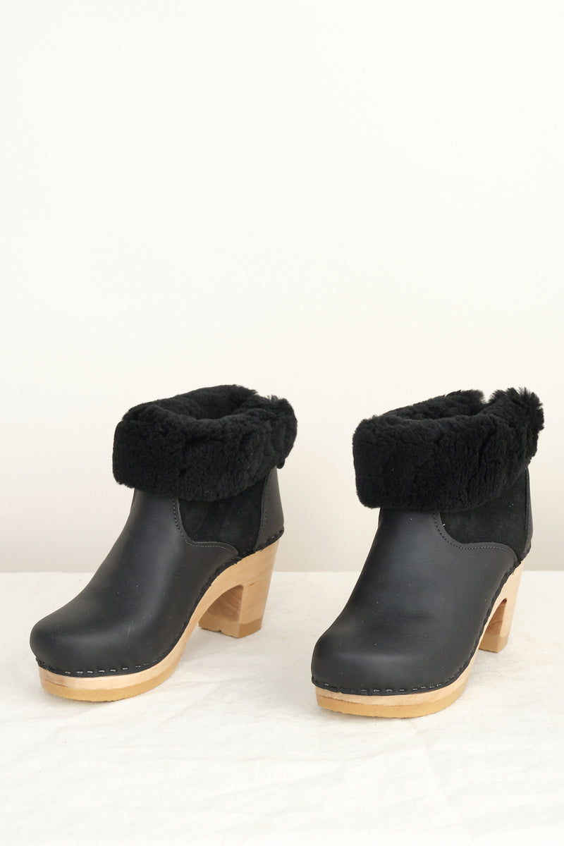 "No. 6 5"" Pull on Shearling Clog Boot on High Heel"