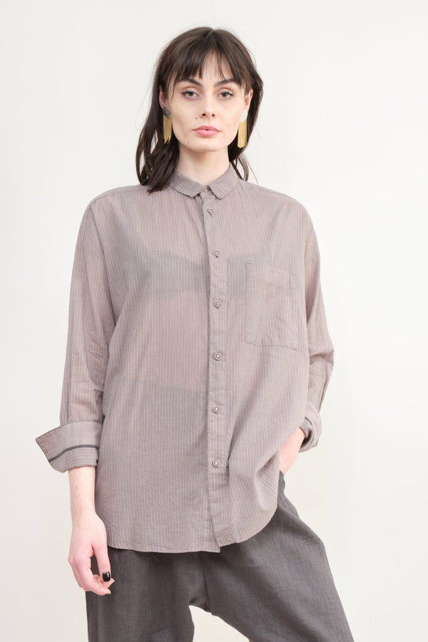 pas de calais Striped Cotton Blouse In Grey