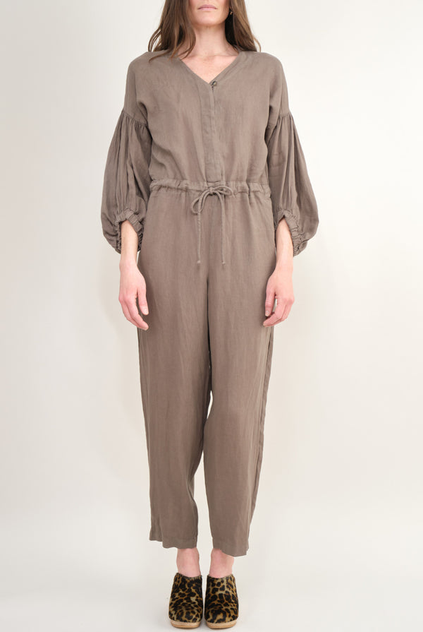 Black Crane Balloon Sleeve Jumpsuit Grey