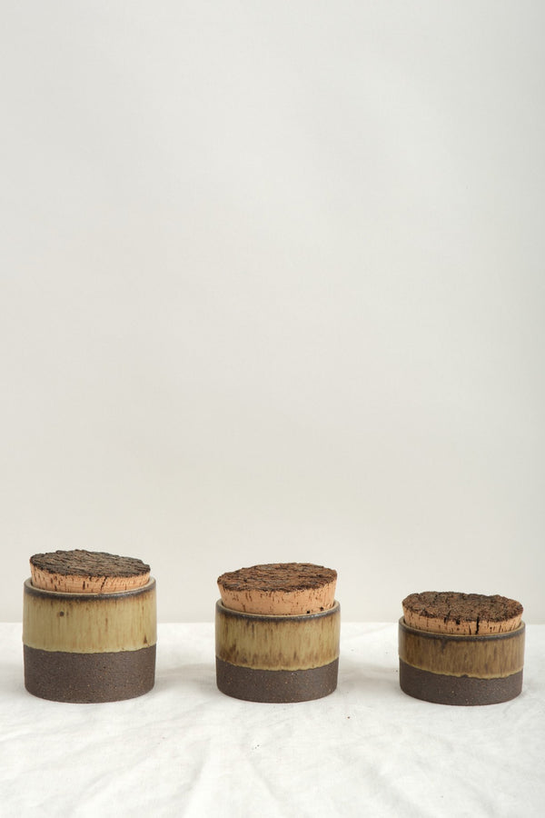 "Humble Ceramics 3.5"" x 2.5"" Corked Canister In Brownstone/Tortoise"