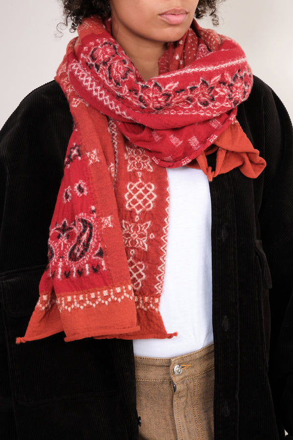 kapital Compressed Wool Scarf Bandana Patchwork in Red