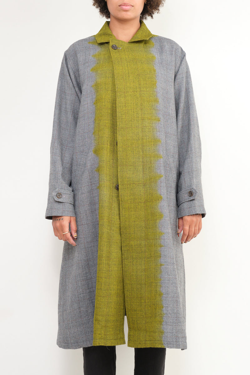 wool glen check long coat suzusan
