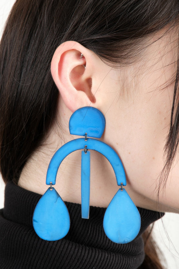 Annie Costello Brown Arc Drop Earrings In Blue Oxide