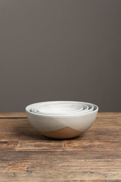 Kati Von Lehman Stoneware Kitchen Bowls In Brown/Eggshell