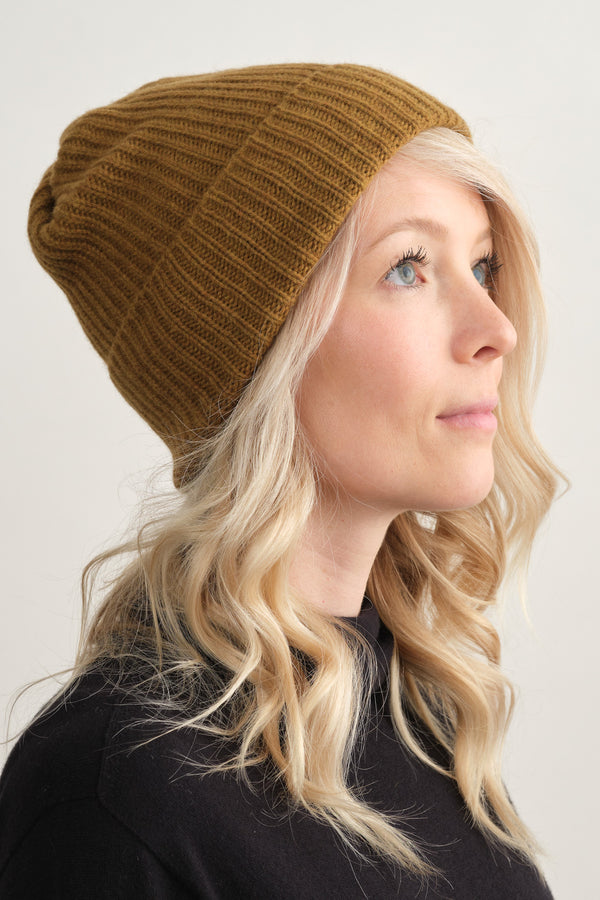 Mature Ha Pleats Knit Cap Mustard