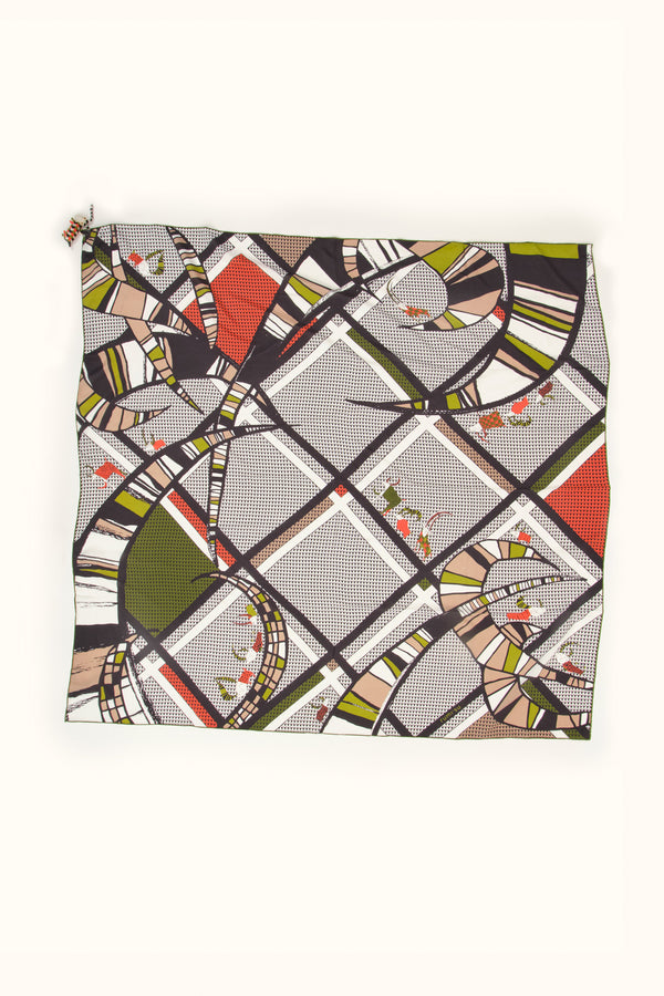 Rumisu Giddy Goats Silk Scarf In Black and White 54x54""