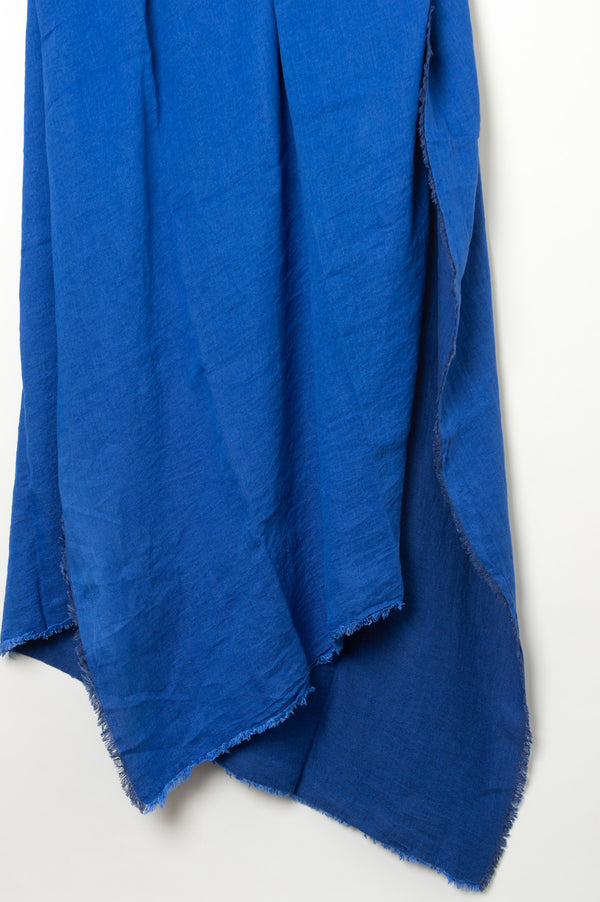 Maison de Vacances Washed Linen Vice Versa Fringed Throw In Cobalt