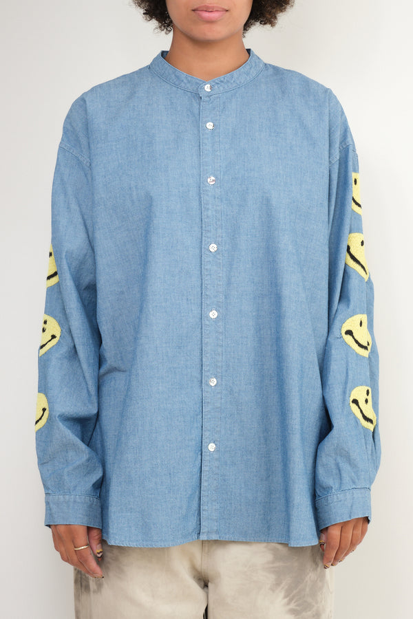 Chambray Band Collar Shirt (Smile) kapital