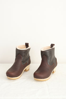 "No. 6 5"" Pull on Shearling Clog Boot on Mid Heel"