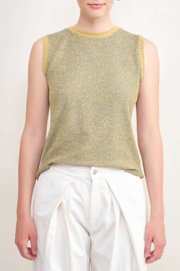 linen tank tee in noise 7115 by Szeki