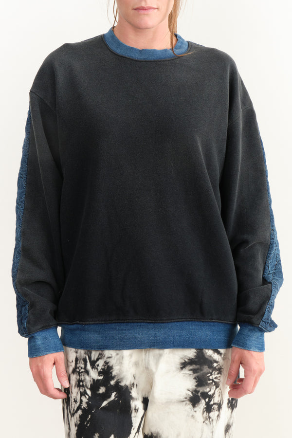Kapital Fleecy Knit Denim Quilting Sweatshirt