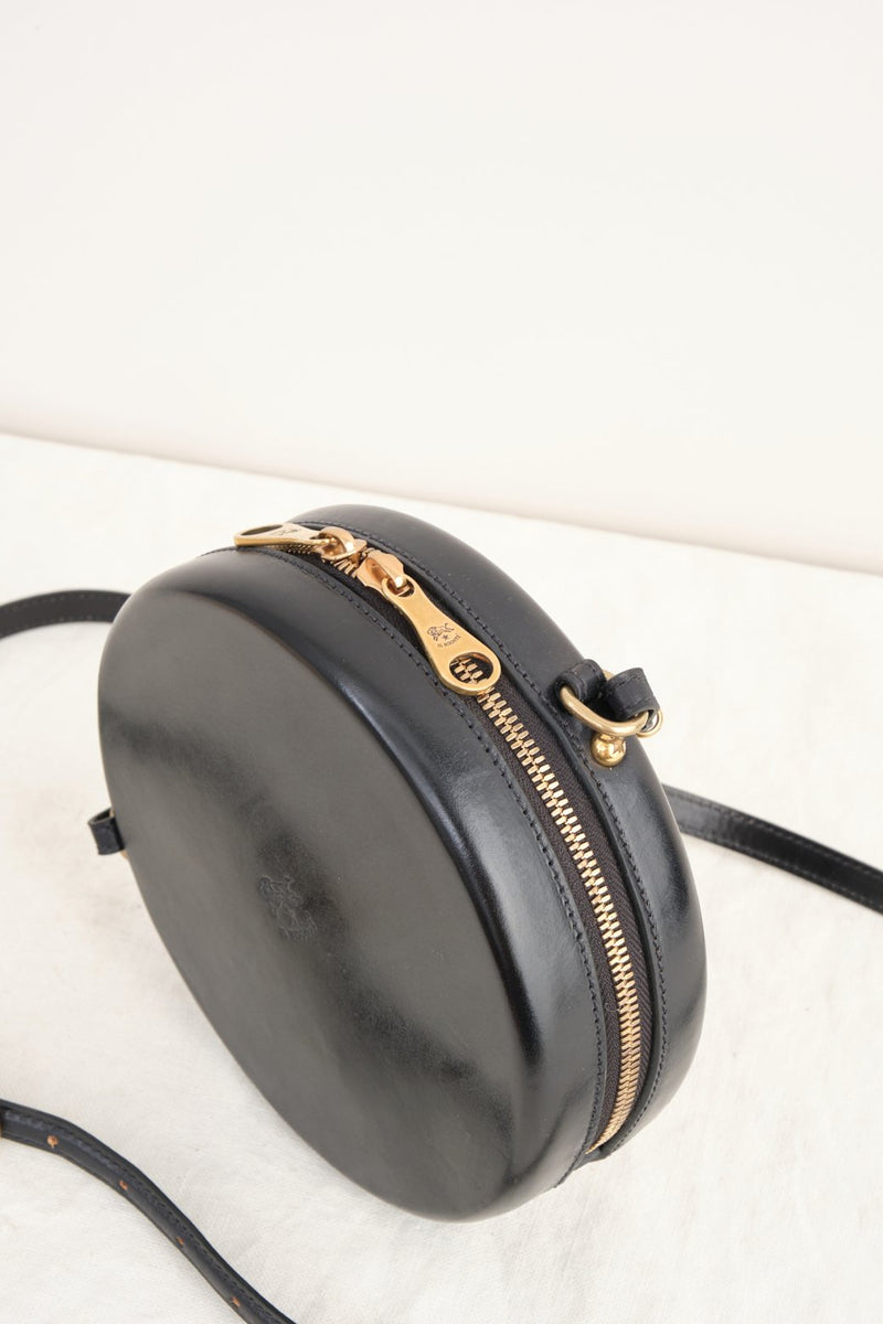Il Bisonte Circle Crossbody Bag Black Leather