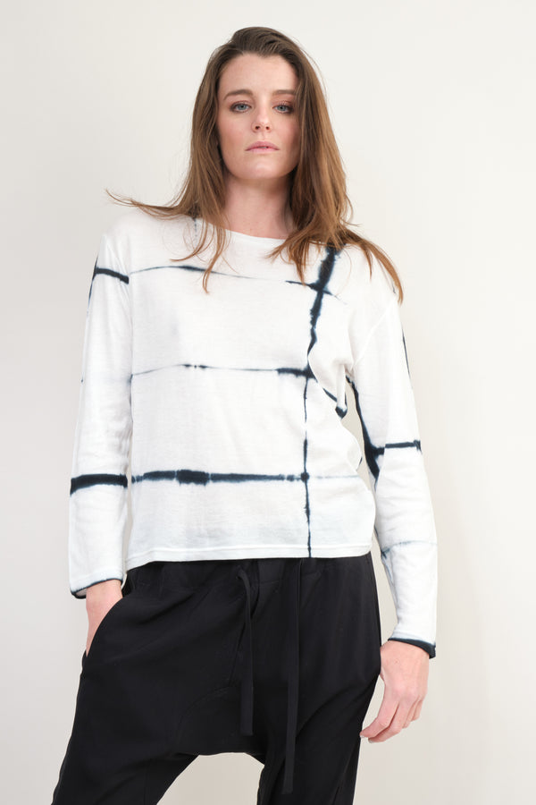Suzusan Long Sleeve T-Shirt Check Shibori In Black/White