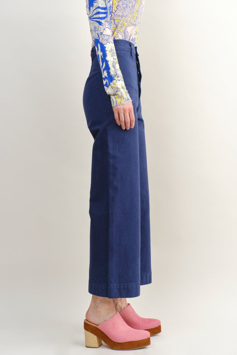 Jesse Kamm Sailor Pant In Bill Cunningham Blue Wide Leg