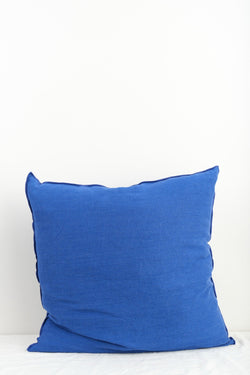 "Maison de Vacances 26 x 26"" Washed Linen Vice Versa Cushion In Cobalt"