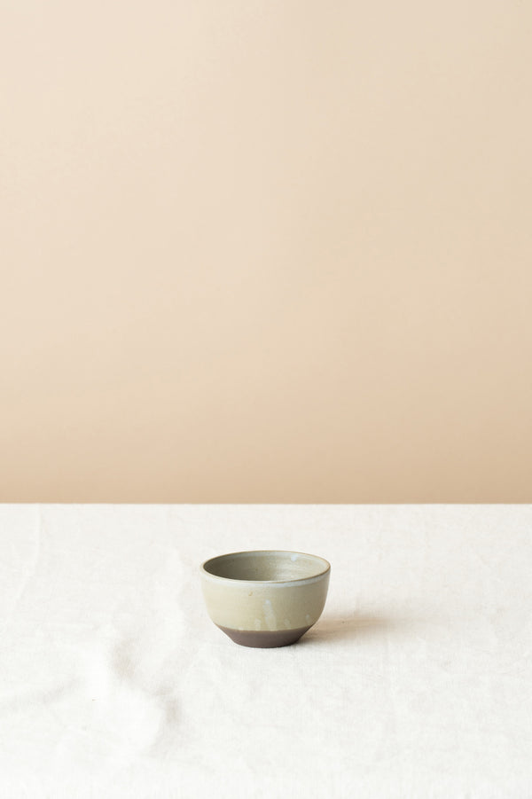 Small Bowl Black/Brown Stoneware In White Wash