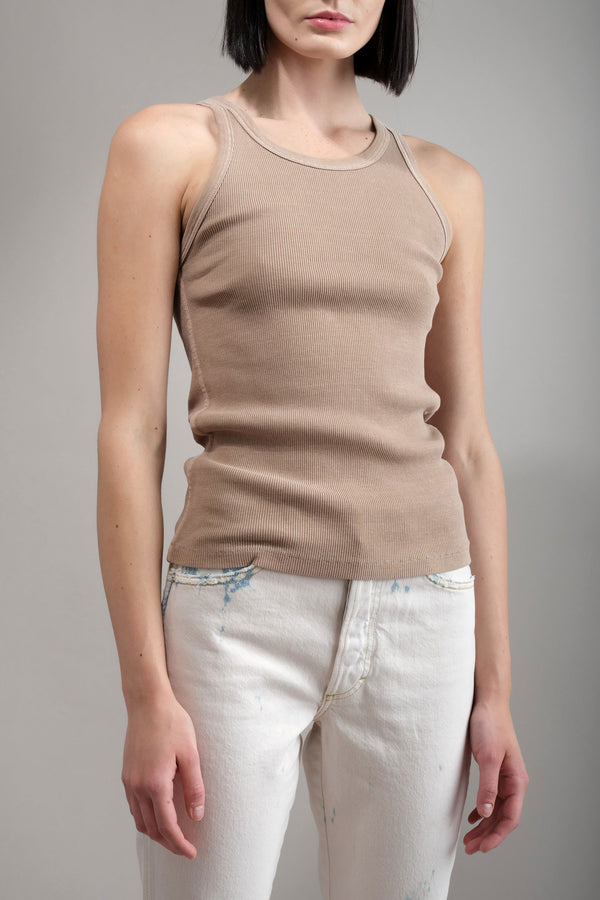 amo denim Long Rib Tank in Dune