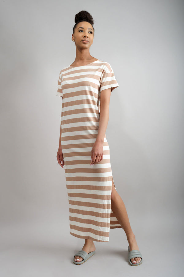 Amo Denim Stripe Tshirt Dress in Dune Stripe