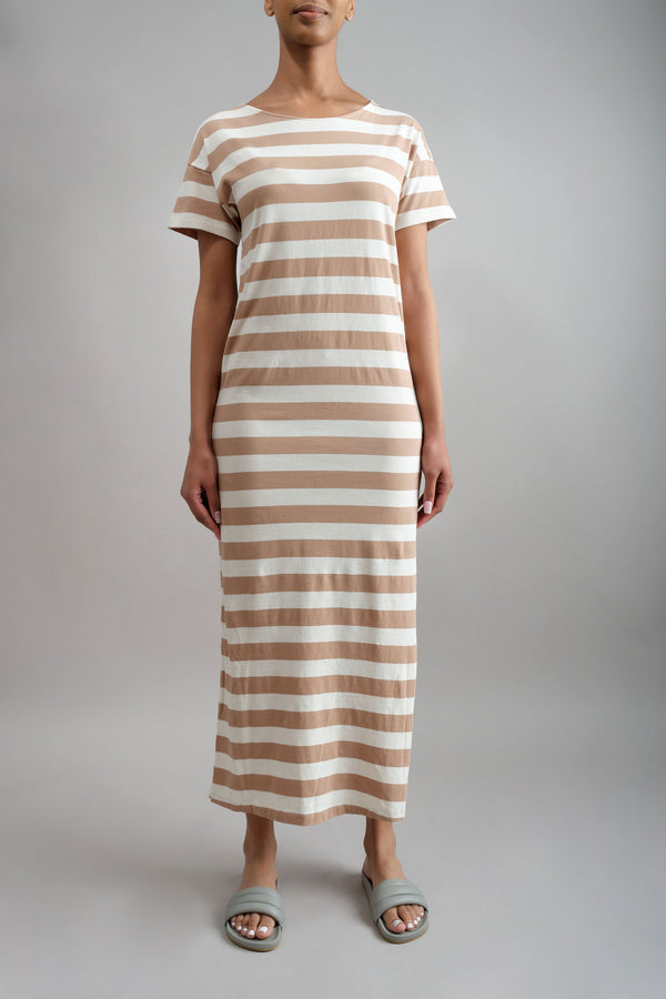 Tshirt Dress in Dune Stripe Amo Denim