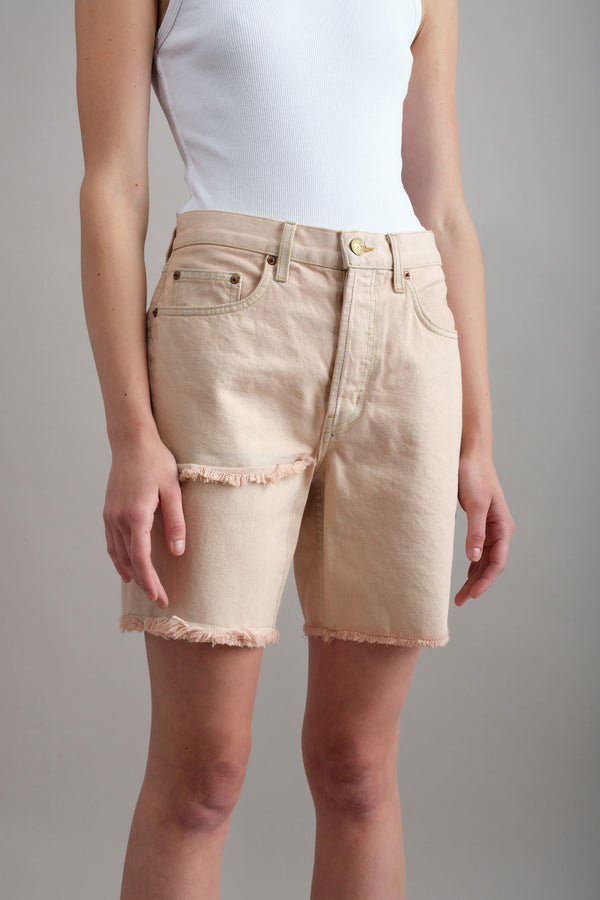 b sides Cutoff Patchwork Shorts