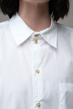 Longerline Cotton Shirt in white