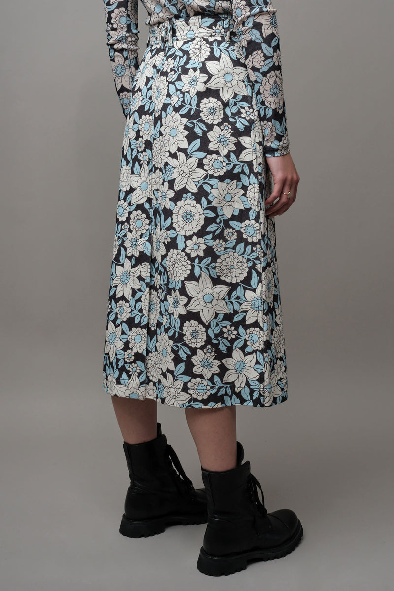 Floral Black and blue patterned A-Line Skirt