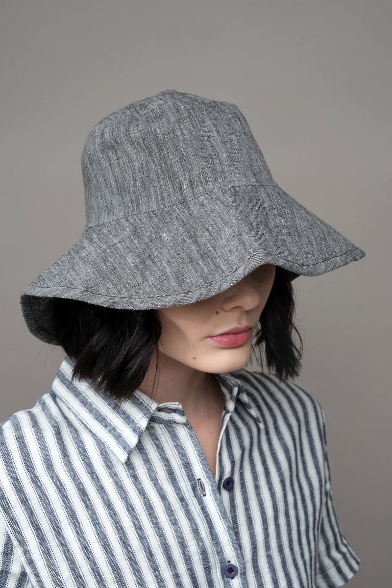 Wide Brim Linen Hat in Charcoal