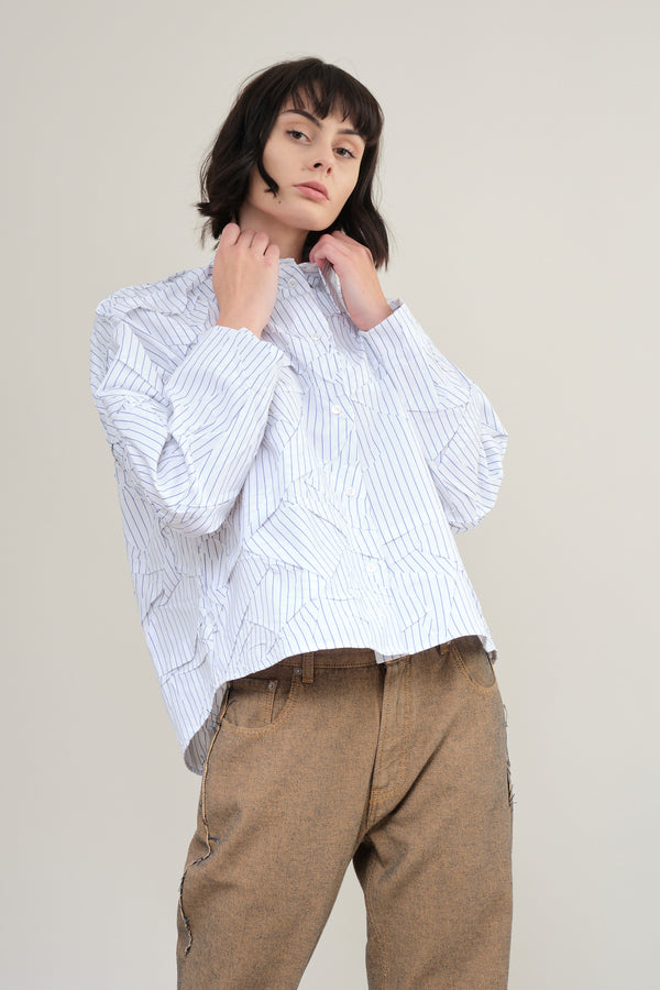 MM6 Maison Margiela crushed striped poplin shirt