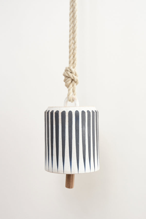 Large Wide Thrown Bell: Indigo Stripes