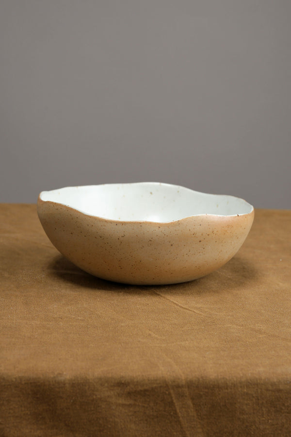 Carved Eggshell Morning Bowl in Naked White Mt Washington Pottery
