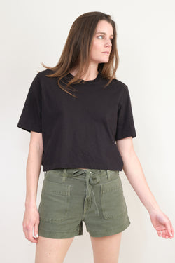 Bassike Cropped Boxy S/S T-Shirt In Black