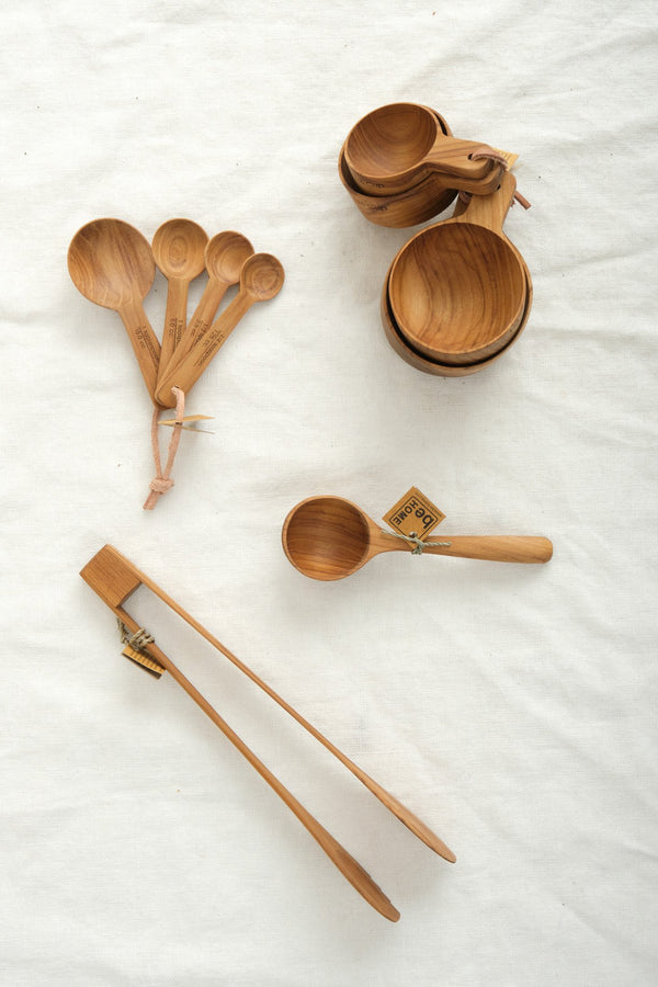 Be Home Teak Round Measuring Spoons