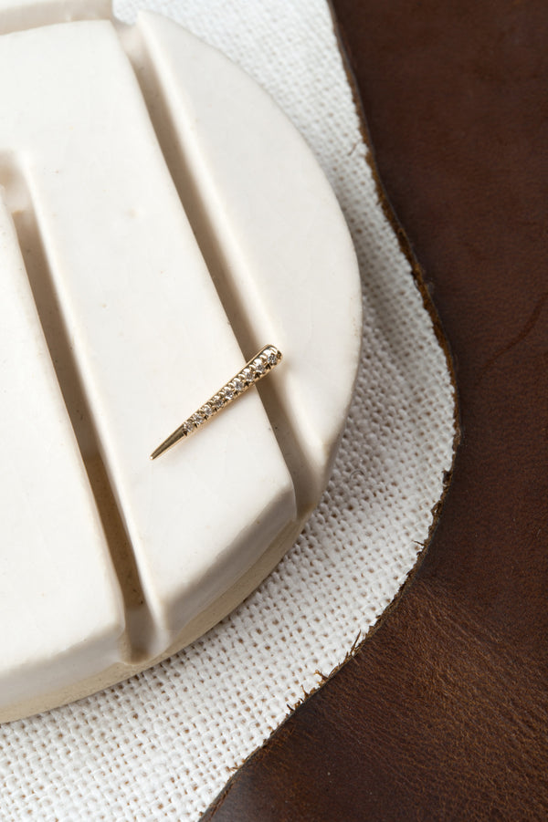 Drop Down Tusk Earring With Pave White Diamonds In 14K Yellow Gold