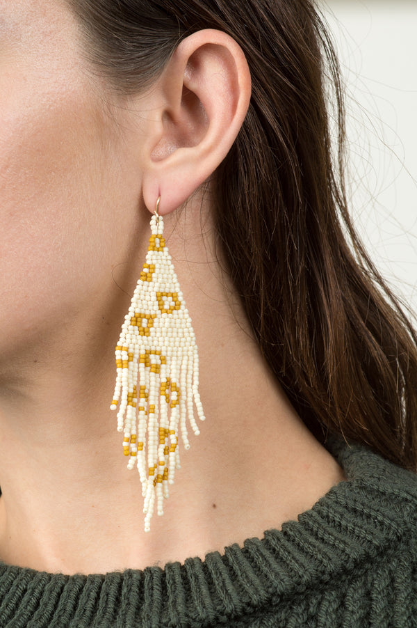 Salihah Moore Leopard Hand Beaded Earrings