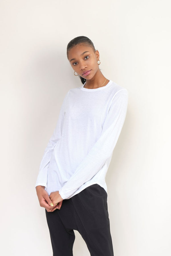 Bassike Heritage Scoop Hem L/S T-Shirt In White