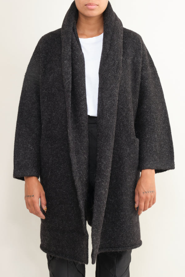 black melange capote coat Lauren Manoogian