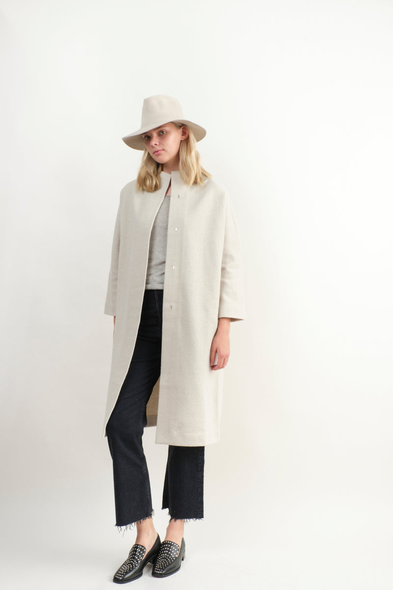 Evam Eva Press Long Wool Coat Ivory