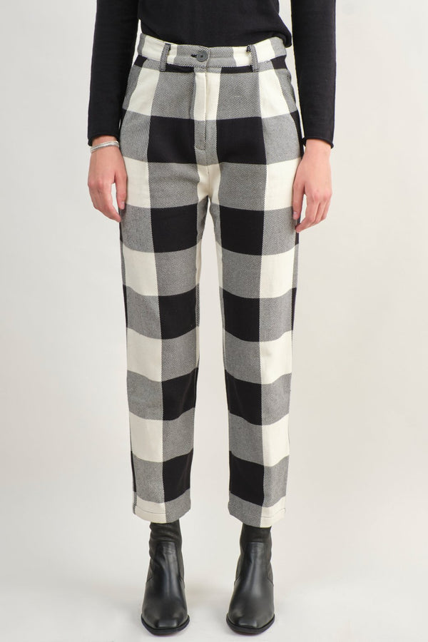 Mara Hoffman Dita Pant Black and Cream Plaid