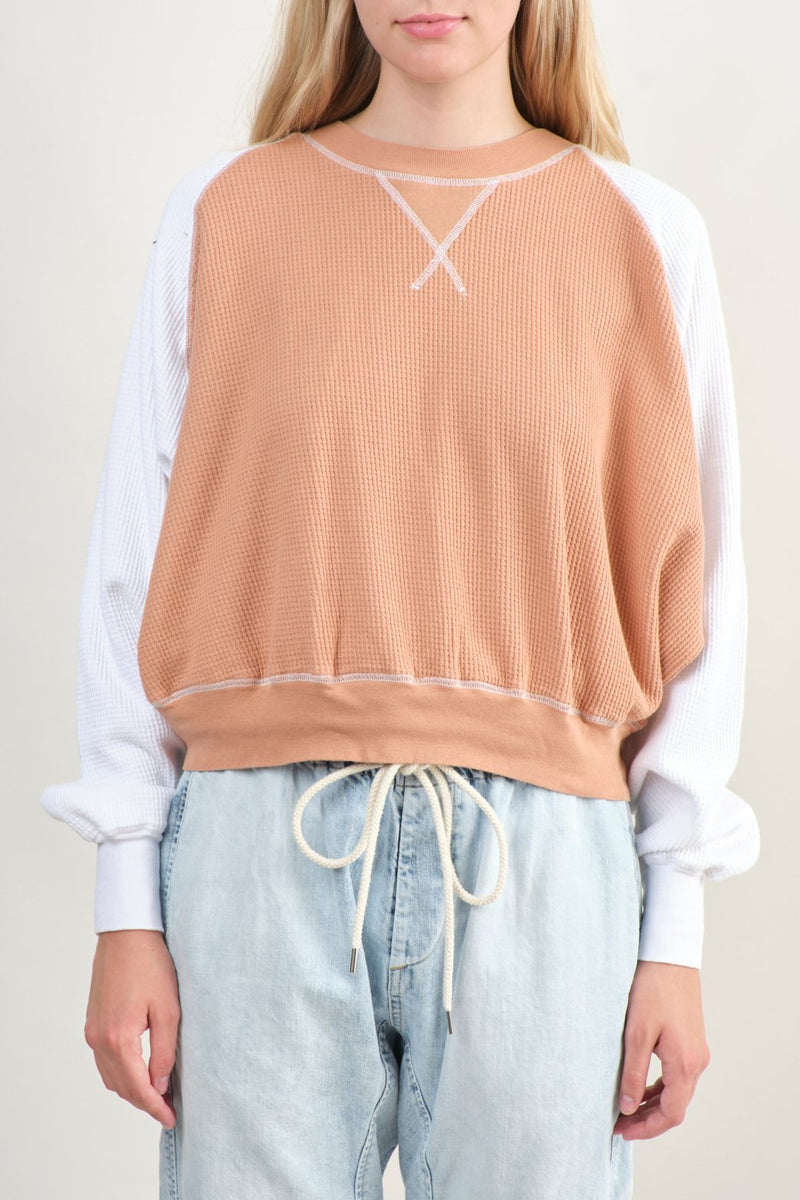 Bassike Contrast Waffle Batwing Sweat Light Blush