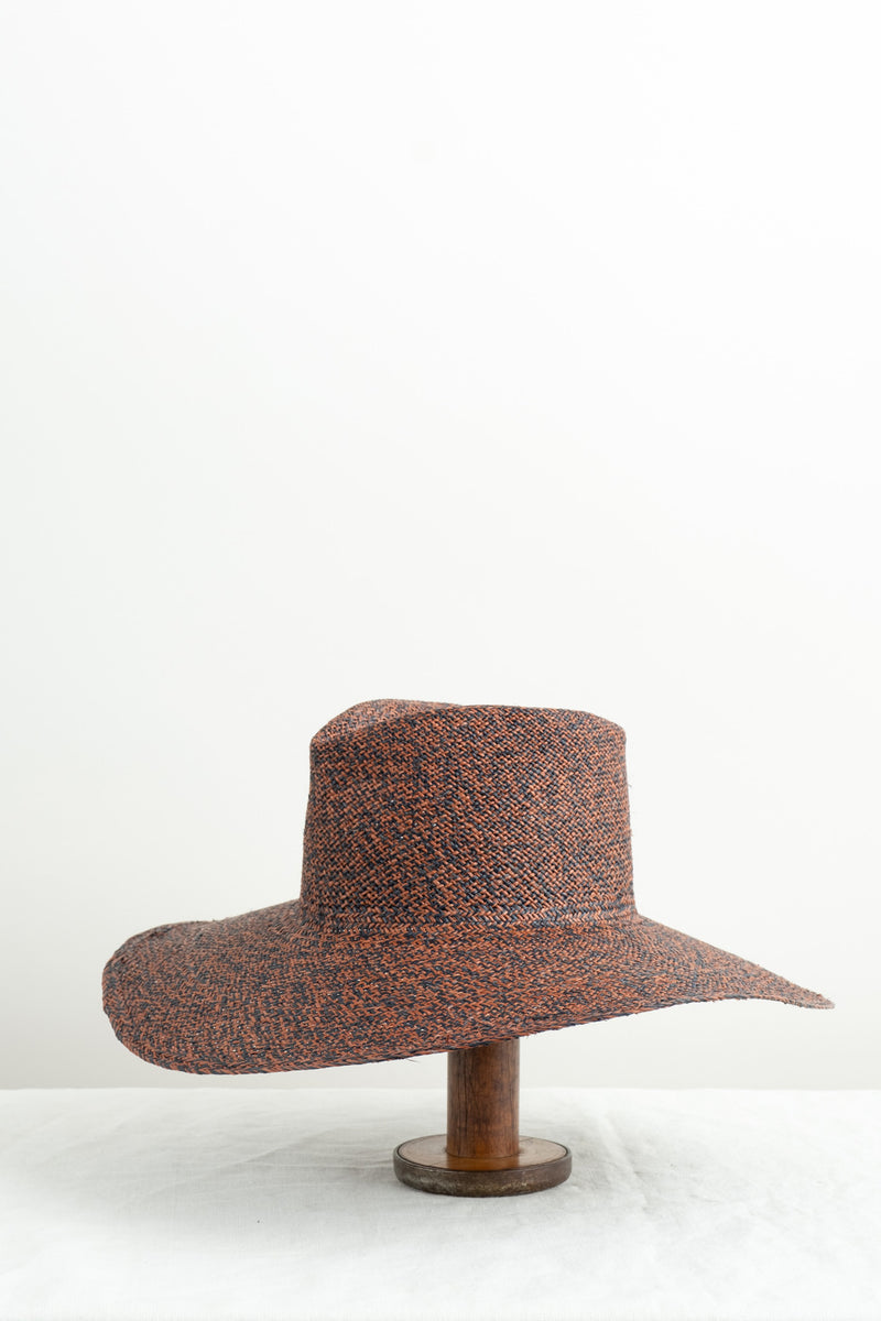 Clyde Pinch Panama Hat In Rust/Black