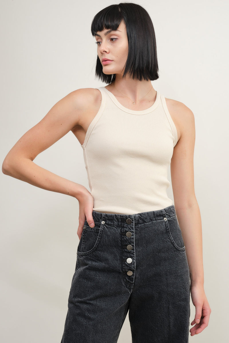 Amo Denim long rib tank in bare