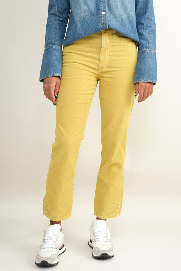 chloe crop mustard courdroy Amo Denim