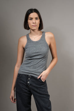 Amo Design Long Rib Tank in Heather Grey