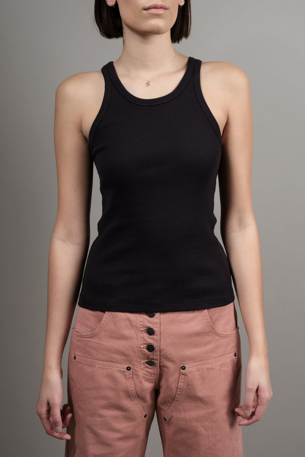 Long Rib Tank In Vintage Black Amo Design