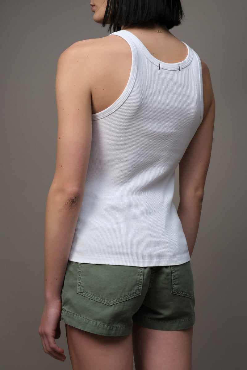 Long Rib Tank in White