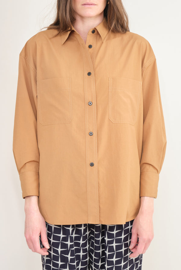 No. 6 Clothing Aaron Top Khaki Polished Shirting